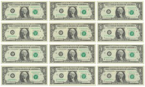 USA, 1$ 1969 - Full set of all district serial letters A - L (12pcs.)