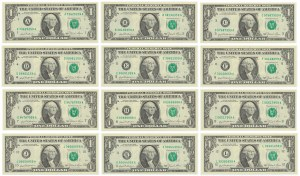 USA, 1$ 1981 - Full set of all district serial letters A - L (12pcs.)