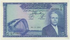 Tunezja, 5 dinarów 1962