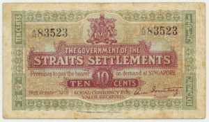 Straits Settlements, 10 cents 1919 - RARE