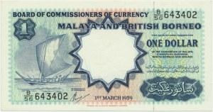 Malaya, British Borneo, 1 dollar 1959