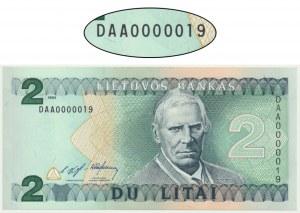 Litwa, 2 litu 1993 - DAA 0000019 - niski numer