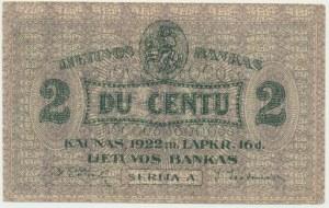 Lithuania, 2 centas 1922 - A -