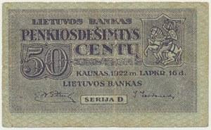 Lithuania, 50 centas 1922 - D -