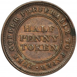Kanada, Nowa Szkocja, 1/2 Penny Token 1813 - RZADKI