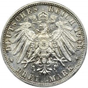 Niemcy, Bawaria, Otto, 3 Marki Monachium 1908 D