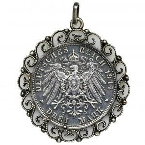 Germany, Bavaria, Ludwig III, 3 Mark Munich 1914 D - medallion