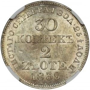 30 kopiejek = 2 złote Warszawa 1839 MW - NGC MS63 - PIĘKNE
