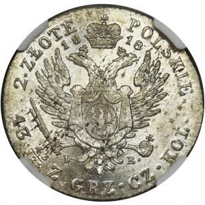 Królestwo Polskie, 2 złote polskie Warszawa 1818 IB - NGC MS60 - RZADKIE, ZNAKOMITE