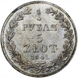 3/4 rouble = 5 zloty Warsaw 1841 MW - NGC MS61