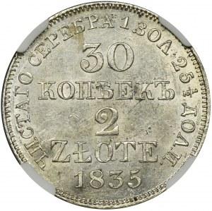 30 kopiejek = 2 złote Warszawa 1835 MW - NGC MS63 - PIĘKNE