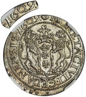 Zygmunt III Waza, Ort Gdańsk 1609 - NGC MS 64 - RZADKI, WYŚMIENITY i JEDYNY