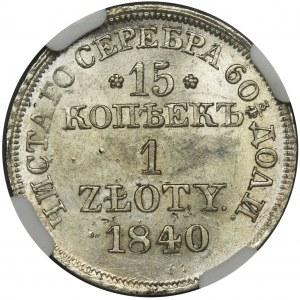 15 kopiejek = 1 złoty Warszawa 1840 MW - NGC MS63 - PIĘKNY