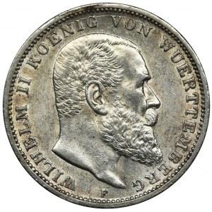 Germany, Wirtemberg, Wilhelm II, 3 Mark Stuttgart 1914 F