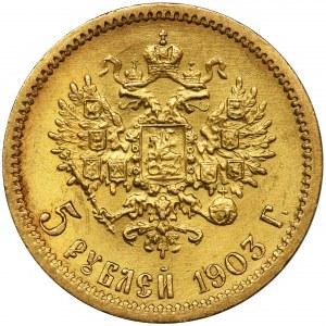Rosja, Mikołaj II, 5 Rubli Petersburg 1903 A•P