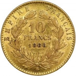 Francja, Napoleon III, 10 Franków Strasbourg 1866 BB