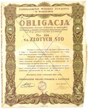 6% obligacja Zgromadzenia Wielkiej Synagogi w Warszawie - UNIKAT