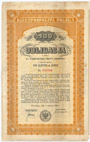 3% państwowa renta ziemska 1936, seria II, obligacja 100 zł