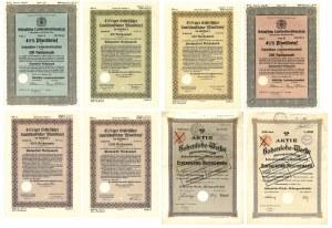 Zestaw różnych śląskich papierów wartościowych (8 szt.)