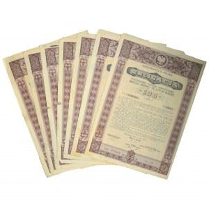 Zestaw obligacji II serii premiowej pożyczki inwestycyjnej 1935 (7 szt.)