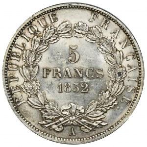 France, Napoleon III, 5 Francs Paris 1852 A