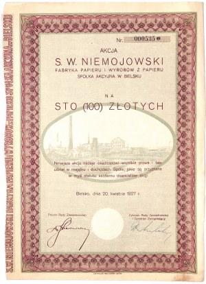 S. W. Niemojowski Fabryka Papieru i Wyrobów z Papieru S.A. - 100 zł