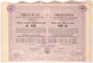 6% pożyczka konwersyjna m. st. Warszawy 1930, obligacja 426 zł