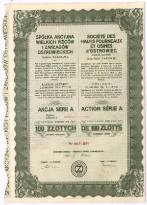 Wielkie Piece i Zakłady Ostrowieckie - akcja imienna ser. A, 100 zł