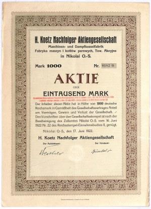 Fabryka Kotłów i Maszyn Parowych H. Koetz S.A. - 1000 mk (1000 zł)