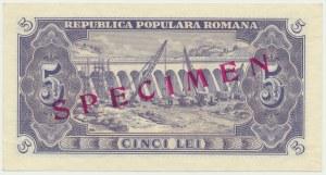 Romania, 5 Lei 1952 - SPECIMEN -