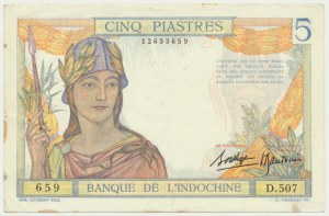 French Indo-China, 5 piastres (1936)