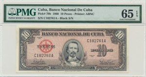 Cuba, 10 pesos 1960 - PMG 65 EPQ