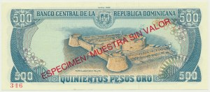 Dominicana, 500 pesos 1988 - SPECIMEN -