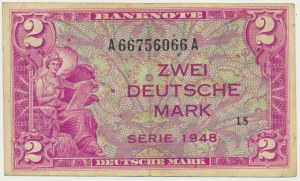 Aliancki pieniądz okupacyjny, 2 marki 1948 - rzadszy