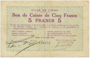 Francja (Liege), bon na 5 franków 1914