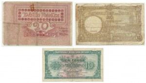 Belgia, zestaw 10-20 franków (1905-44) (3 szt.)