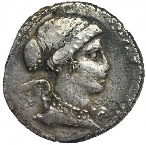 Roman Republic, T. Carisius, Denarius