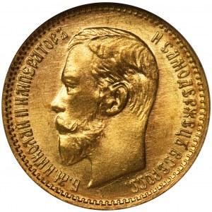 Rosja, Mikołaj II, 5 Rubli Petersburg 1904 - NGC MS66