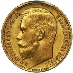 Rosja, Mikołaj II, 15 Rubli Petersburg 1897 AГ - PCGS MS63