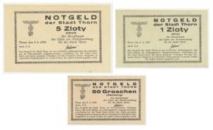 Thorn (Toruń), zestaw 50 groszy, 1 i 5 złotych 1939 (3szt.)