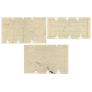 Sopot, zestaw 3 bonów o nominałach 20, 105 i 420 goldpfennigów - RZADKOŚĆ