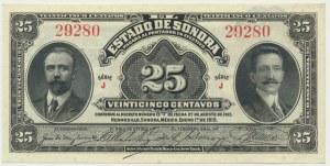 Mexico Revolution, 25 cents 1915