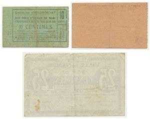 Belgia, zestaw bonów 10-25 centów 1918-19 (3 szt.)