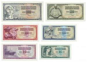 Yugoslavia, set of 5 - 1000 dinars 1968-86 (6pcs.)
