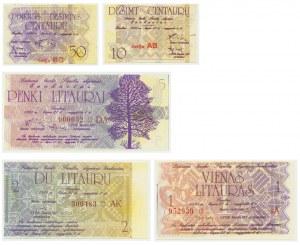 Litwa, zestaw 10 centów - 5 litauru 1991 (5 szt.)