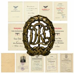 Niemcy, III Rzesza, Brązowa Odznaka Sportowa DRL razem z dokumentami