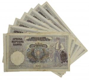 Serbia, zestaw 100 dinarów 1941 (8 szt.)