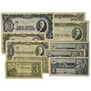 Rosja, zestaw 1-10 rubli 1938 (10 szt.)