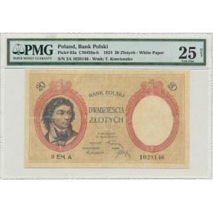 20 złotych 1924 - II EM.A - PMG 25 NET - RZADKI