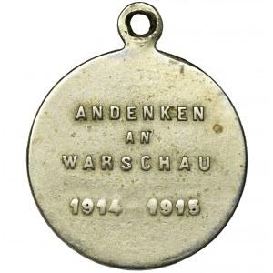 Niemcy, Prusy, Wilhelm II, medalik upamiętniający bombardowania Warszawy w 1914-15